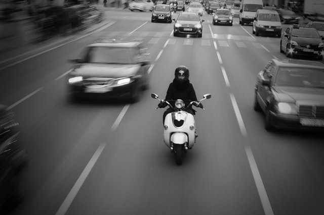 black and white motorbike
