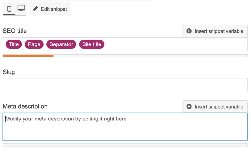 Editing meta description in Yoast