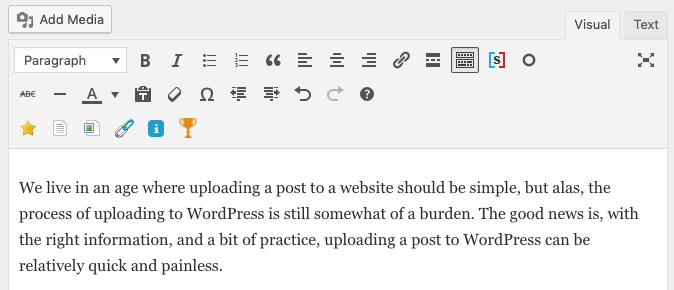 Adding paragraph text in wordpress