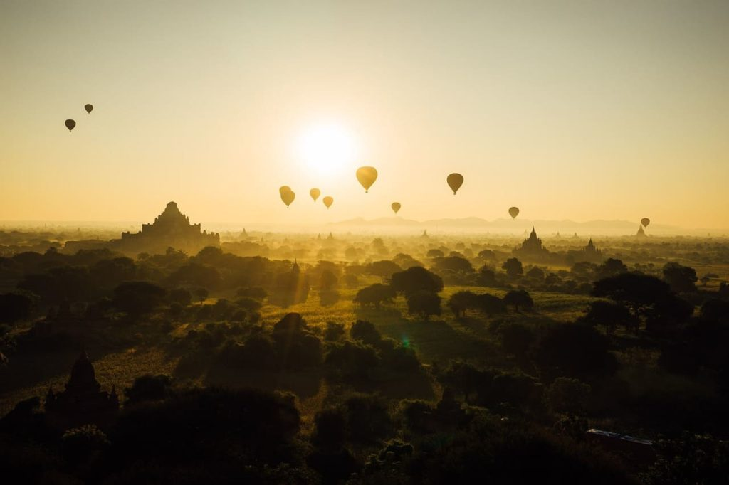 Hot air balloons at sunset in Bagan