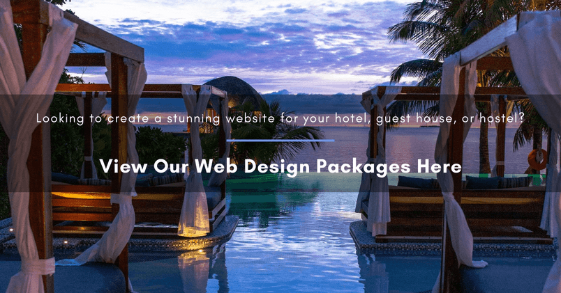 A hotel pool in the evening with white text overlay suggesting that the reader views our web design packages by clicking on the image
