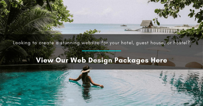 A hotel pool with a woman in it, with white text overlay suggesting that the reader views our web design packages by clicking on the image